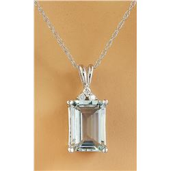 3.43 CTW Aquamarine 14K White Gold Diamond Necklace