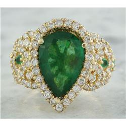 7.25 CTW Emerald 18K Yellow Gold Diamond Ring