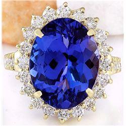 10.08 CTW Natural Tanzanite 18K Solid Yellow Gold Diamond Ring