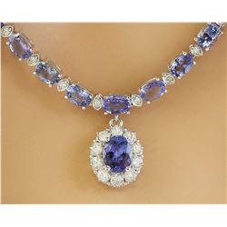 38.20 CTW Tanzanite 18K White Gold Diamond Necklace