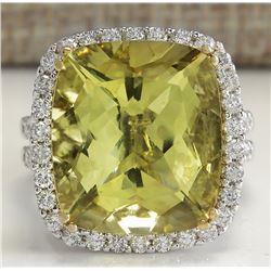 14.12 CTW Natural Lemon Quartz And Diamond Ring In14K Solid White Gold