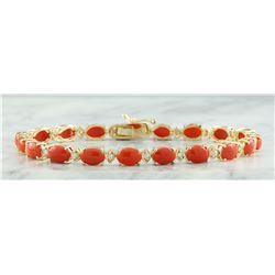 17.47 CTW Coral 18K Yellow Gold Diamond Bracelet