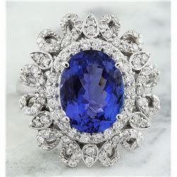 7.00 CTW Tanzanite 14K White Gold Diamond Ring
