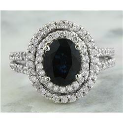 4.00 CTW Sapphire 18K White Gold Diamond Ring