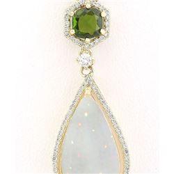 8.39 CTW Natural Opal Tsavorite Diamond Pendant In 18K Solid Yellow Gold