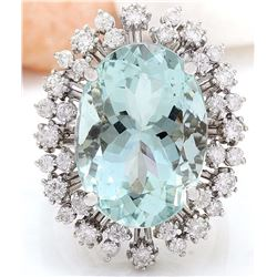 15.86 CTW Natural Aquamarine 18K Solid White Gold Diamond Ring