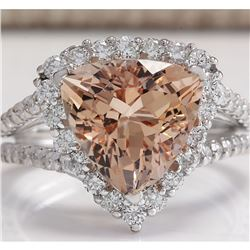 5.27 CTW Natural Peach Morganite And Diamond Ring In 18K Solid White Gold