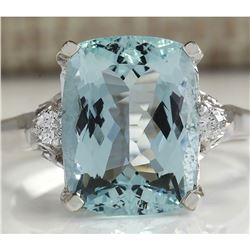 4.60 CTW Natural Aquamarine And Diamond Ring In 18K Solid White Gold