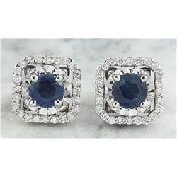 2.65 CTW Sapphire 14K White Gold Diamond Earrings