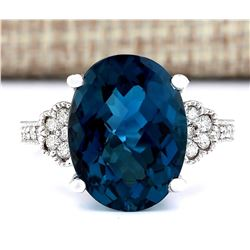 11.32 CTW Natural London Blue Topaz And Diamond Ring In14k Solid White Gold