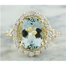 3.81 CTW Aquamarine 18K Yellow Gold Diamond Ring