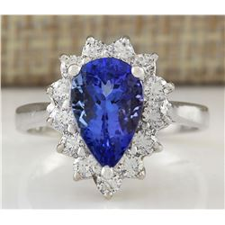 3.13 CTW Natural Tanzanite And Diamond Ring In 18K White Gold