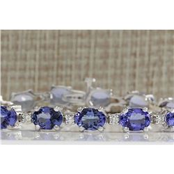 17.59CTW Natural Tanzanite And Diamond Bracelet In 18K Solid White Gold