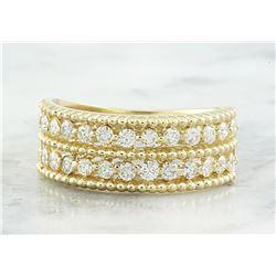 0.66 CTW Two Row Diamond 18K Yellow Gold Ring