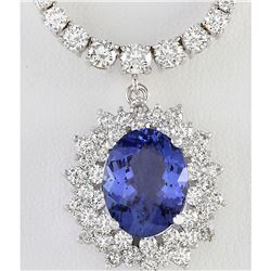 12.13 CTW Natural Tanzanite And Diamond Necklace In 14K White Gold