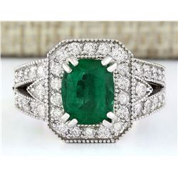 3.17 CTW Natural Emerald 18K Solid White Gold Diamond Ring
