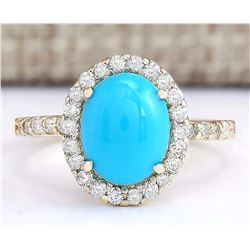 2.67 CTW Natural Turquoise And Diamond Ring In 14k Yellow Gold