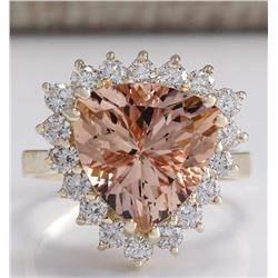 6.27 CTW Natural Peach Morganite And Diamond Ring In 14K Solid Yellow Gold