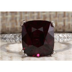 4.90CTW Natural Red Rhodolite Garnet And Diamond Ring In14K White Gold