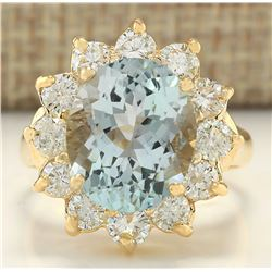 7.60 CTW Natural Aquamarine And Diamond Ring In 18K Yellow Gold