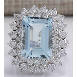 9.17 CTW Natural Aquamarine And Diamond Ring In 18K White Gold