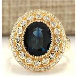 4.03 CTW Natural Sapphire And Diamond Ring In 18K Yellow Gold
