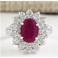 3.11 CTW Natural Ruby And Diamond Ring In 14k White Gold