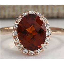 2.82 CTW Natural Citrine And Diamond Ring 14K Solid Rose Gold