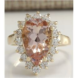 5.00 CTW Natural Peach Morganite And Diamond Ring In 18K Solid Yellow Gold