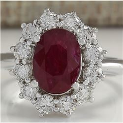 3.38 CTW Natural Ruby And Diamond Ring 14K Solid White Gold