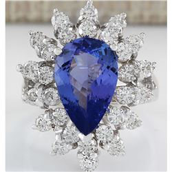 4.72 CTW Natural Tanzanite And Diamond Ring In 18K White Gold