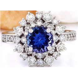 2.50 CTW Natural Tanzanite 14K Solid White Gold Diamond Ring