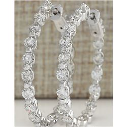 3.64 CTW Natural Diamond Hoop Earrings 18K Solid White Gold
