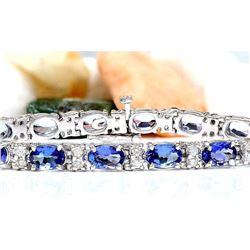 11.10 CTW Natural Tanzanite 18K Solid White Gold Diamond Bracelet