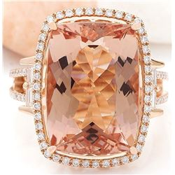 14.64 CTW Natural Morganite 14K Solid Rose Gold Diamond Ring