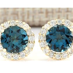 3.65 CTW Natural London Blue Topaz And Diamond Earrings 14k Solid Yellow Gold