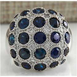 4.86 CTW Natural Blue Sapphire Diamond Ring 18K Solid White Gold