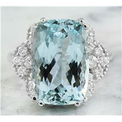 8.50 CTW Aquamarine 14K White Gold Diamond Ring
