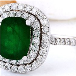 2.99 CTW Natural Emerald 14K Solid White Gold Diamond Ring