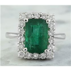 4.22 CTW Emerald 18K White Gold Diamond Ring
