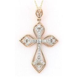 0.70 CTW Natural Diamond Pendant In 14k Solid Rose Gold