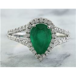 2.65 CTW Emerald 18K White Gold Diamond Ring