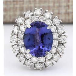 8.89 CTW Natural Blue Tanzanite And Diamond Ring 14k Solid White Gold