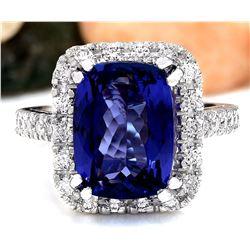 7.96 CTW Natural Tanzanite 18K Solid White Gold Diamond Ring