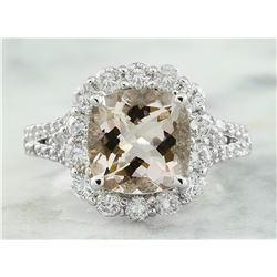 3.70 CTW Morganite 14K White Gold Diamond Gold