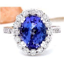 4.94 CTW Natural Tanzanite 18K Solid White Gold Diamond Ring