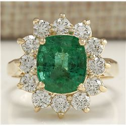 3.98 CTW Natural Emerald And Diamond Ring 18K Solid Yellow Gold