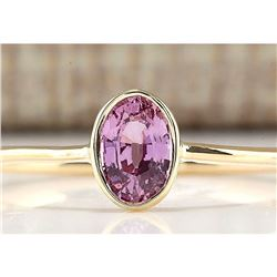 0.70 CTW Natural Pink Sapphire And Diamond Ring In 18K Yellow Gold