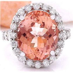 13.50 CTW Natural Morganite 18K Solid White Gold Diamond Ring