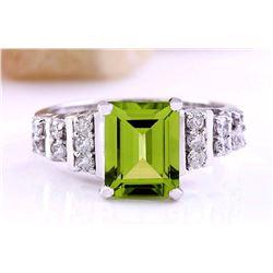 3.05 CTW Natural Peridot 18K Solid White Gold Diamond Ring